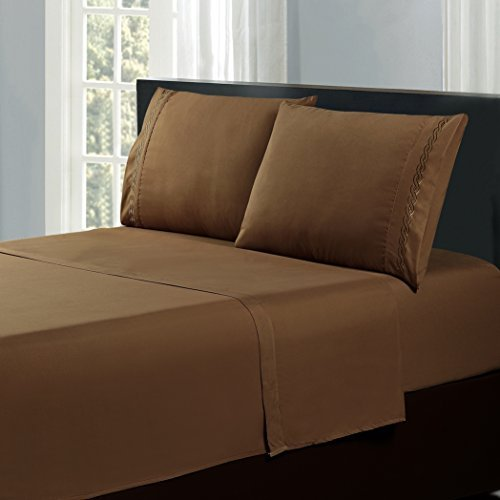 Orient Home Collection De Moocci Cable Embroidery Microfiber Ultra Soft Sheet Set Brown California King 4 Piece