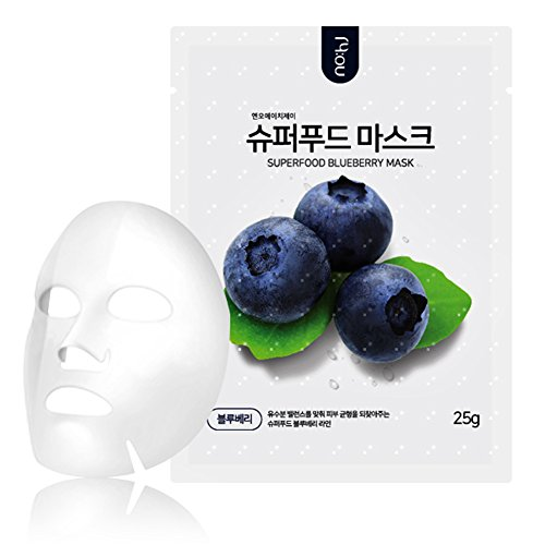 NOHJ Superfood Sheet Mask 10 Sheets Natural Ingredients Ample Essence Hypoallergenic Blueberry Review