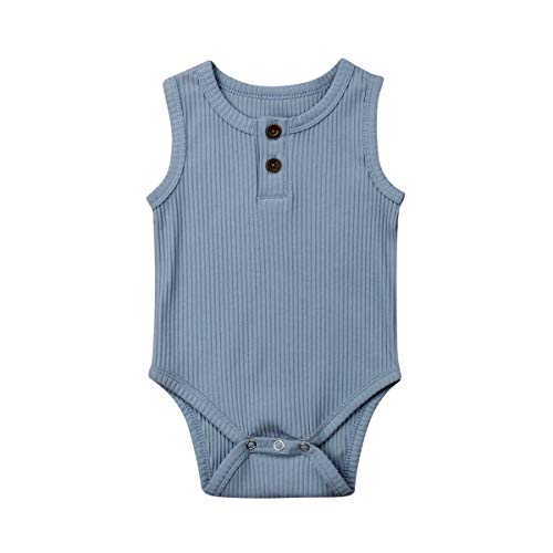 Emmababy Newborn Baby Knit Overalls Romper Vest Shirt Buttons Bodysuit Photography Outfits 3 6 9 12 18 Month (Blue, 3-6M)