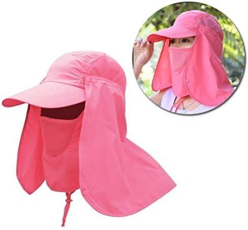 Kaitein 日よけ付き帽子 UVカット 日焼け予防 フラップキャップ ピンク