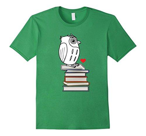 Men's Owl Book Nerd Reading Teacher Student Geek Funny T-Shirt 2XL Grass (Nerdy Girl Costume Ideas)