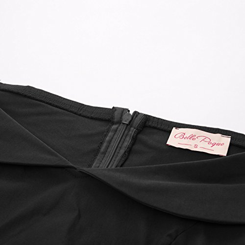 Col GF158 1 Crayon Bateau Belle Robe Vintage Manche Femme Courte Noir Rtro Poque au et 615 Genou wqP1CRT1x