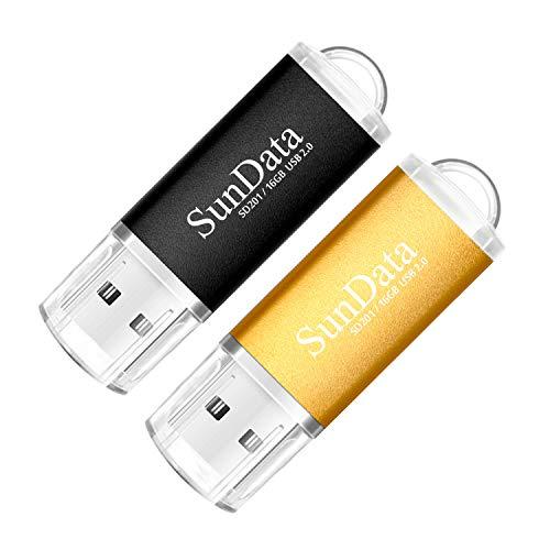 🥇 SunData Memorias USB 2 Piezas 16GB PenDrives 16GB Unidad Flash USB2.0 Pen Drive con Luz LED