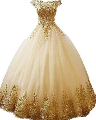 b3166a8428 HAiliFier Women s Generous Gold Lace Appplique Quinceanera Dress ...