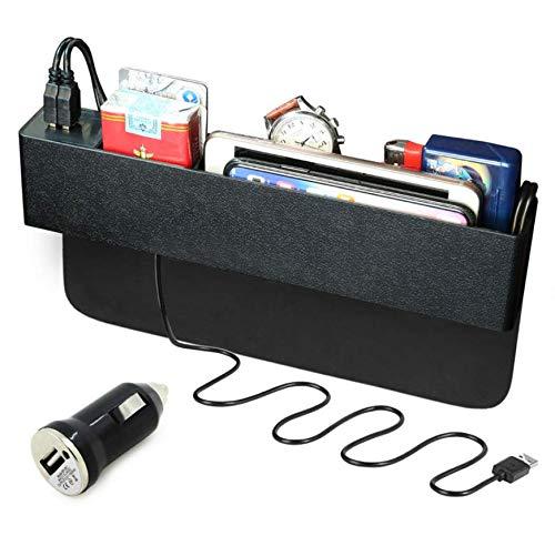 AKAHA Organizador multifunción para asiento de coche con caja de almacenamiento de carga inalámbrica, bolsillo lateral de consola, atrapasueños con organizador de monedas y soporte para tazas