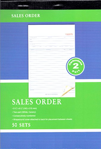 PowerTRC Sales Order Book, 2-Part, Carbonless, 5 9/16 x 8 7/16 inches - White/Canary Paper - 50 Set per Book - 6 Books (300-Sets)