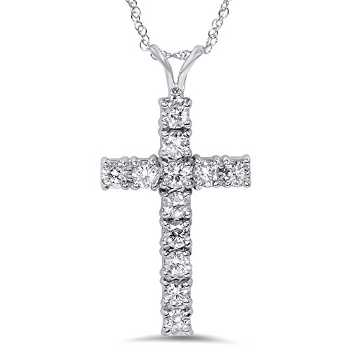 - 1ct Diamond Cross Pendant 14K White Gold
