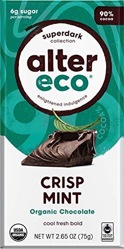 - Alter Eco   Super Dark Crisp Mint   90% Pure Dark Cocoa, Fair Trade, Organic, Non-GMO, Gluten Free Dark Chocolate Bar, 12 Bars