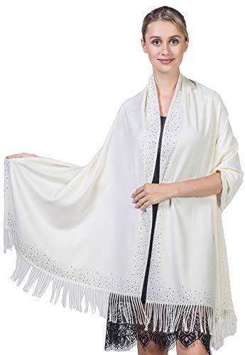 Jacket Wind Ladies Cream - Niaiwei Cashmere Scarf Blanket Large Soft Pashmina Shawl Wrap For Men and Women (Diamond-ironing Cream White)