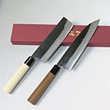 Japanese Kurouchi Kitchen Knives set, chefs knife210mm & Nakri knife165mm, Handmade