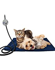 Namsan Pet Heating Pad Dog Cat Heating Blanket Mat with 7 Level Adjustable Temperature, Chew Resistant Cord, Veterinarian Recommending, Blue
