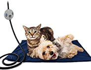Namsan Pet Heating Pad Dog Cat Heating Blanket Mat with 7 Level Adjustable Temperature, Chew Resistant Cord, V