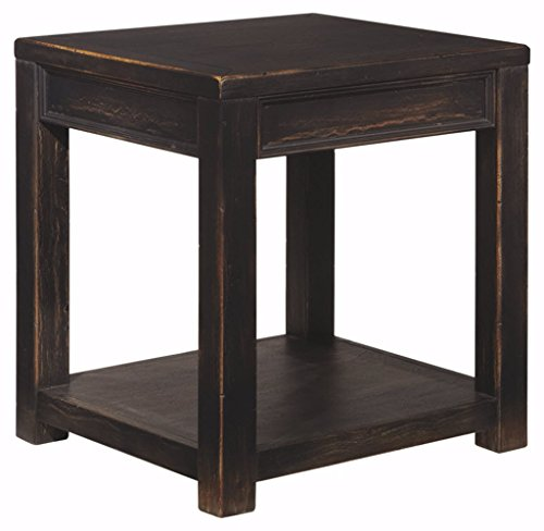 Ashley Furniture Signature Design   Gavelston End Table   Square   Rubbed Black Finish