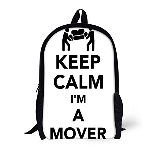 Pinbeam Backpack Travel Daypack Belpacker Keep Calm I Am Mover Box Carrying Waterproof School ()