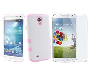 BONAMART ® Rosa / Blanco Hybrid Impacto Funda Rígido Carcasa Case Silicona Cover Para El Samsung Galaxy S4 SIV S 4 IV i9500 + Pantalla Protector Film