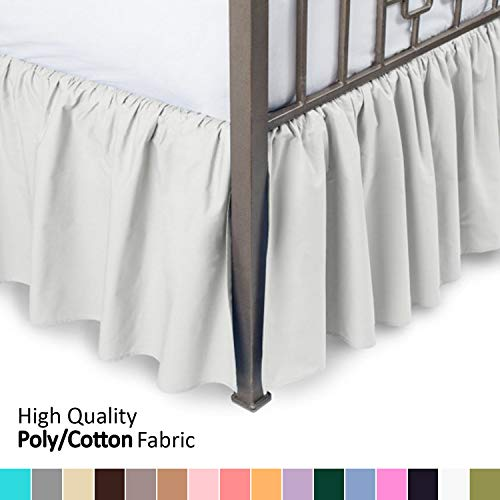 Ruffled Bed Skirt with Split Corners - Full, Bone, 18 Inch Drop Bedskirt (Available in and 16 Colors) Dust Ruffle. ()