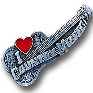 Pewter 3-D Collector Pin - I Love Country Music