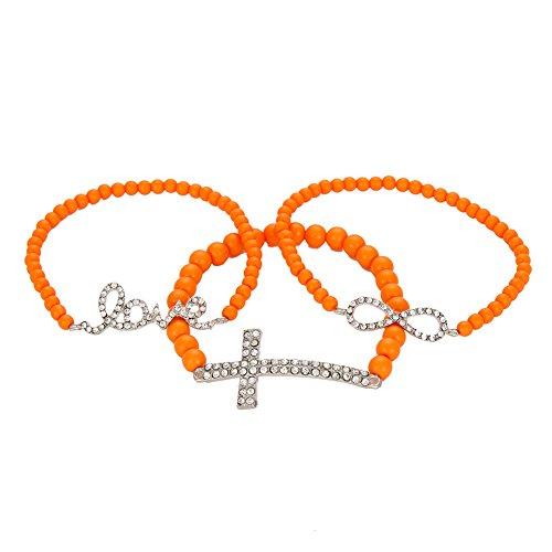 Infinity Beaded Stretch Bracelet - Rhinestone Cross, Infinity, Love Bracelet Plastic Beaded Religious Costume Stretch Wrap Jewelry, Pack of 3 (Orange)
