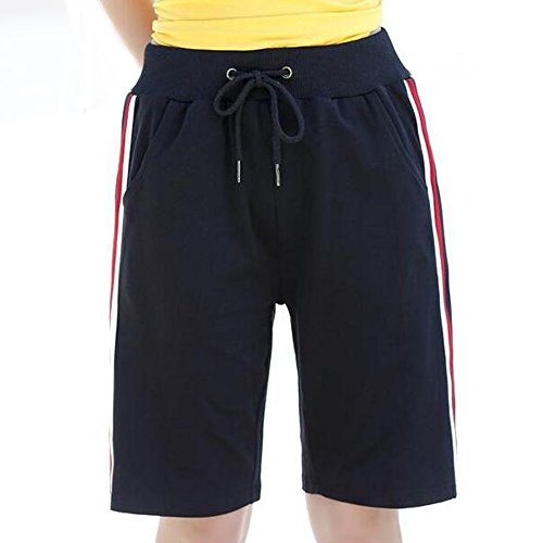 Womens Brushed Jersey Shorts - Womens Relaxed Fit Flat Active Yoga Lounge Jersey Bermuda Shorts with Elastic Waist