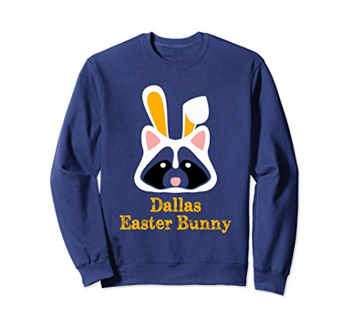 Unisex Dallas Easter Bunny Raccoon Sweatshirt Gift Medium Navy (Gift Baskets Dallas Texas)