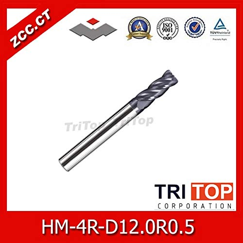 - 1 piece high-hardness steel machining series ZCC.CT HM/HMX-4R-D12.0R0.5 Solid carbide 4 flute Radius end mills with straight shank