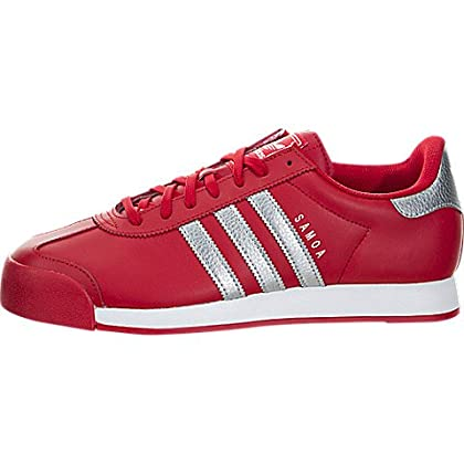 the latest 58f17 8bdfd adidas Men s Samoa Scarlet Silver Metallic FTW White Ankle-High Leather  Fashion Sneaker - 9.5M