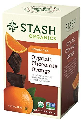 Stash Tea Organic Chocolate Orange Herbal Tea 18 Count Tea Bags in Foil (Pack of 6) (Packaging May Vary) Individual Herbal Tea Bags for Use in Teapots Mugs or Cups, Brew Hot Tea or Iced Tea