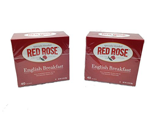 Red Rose English Breakfast Tea Bags - 2 Boxes, 40 Tea Bags Each Box - English Evening Tea