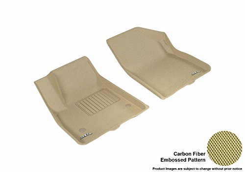 3D MAXpider Front Row Custom Fit All-Weather Floor Mat for Select GMC Acadia Models – Kagu Rubber (Tan)