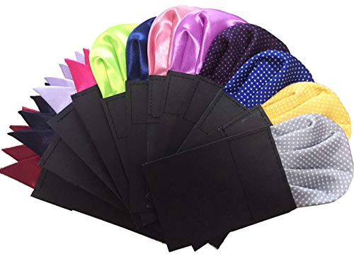 Pocket Squares for men 12 Pack PreFolded On Card Assorted colors Polka dots Polyester Stain 3 Style