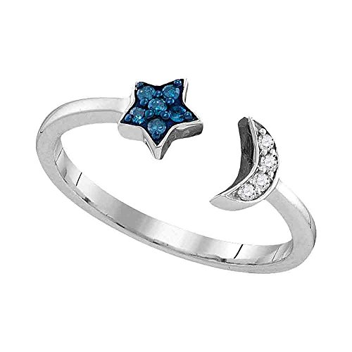 Jewels By Lux Sterling Silver Womens Round Blue Color Enhanced Diamond Star Crescent Moon Bisected Band Ring 1/10 Cttw Ring Size 7