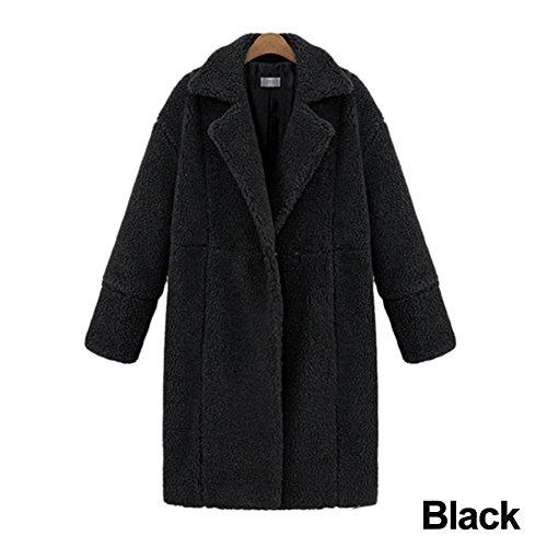 jannyshop Mujeres Invierno Cálido Outwear Ropa Chaqueta de lana de cachemir manga larga color sólido abrigo medias, crema, Medium Negro