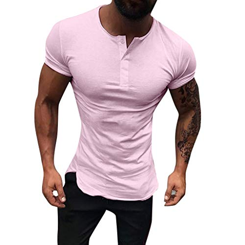 Men's Fashion Round Neck Slim Stretch Short Sleeve,MmNote Gym Muscle Fitness Sports Moisture Wicking Performance T-Shirt Pink