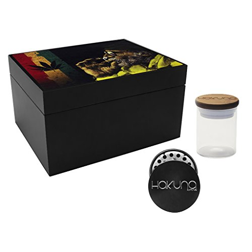 Price comparison product image Hakuna Supply - Black Storage Stash Box with Dividers,  Glass Jar,  Grinder and Catcher- Decal Bamboo Lid (Doobie)