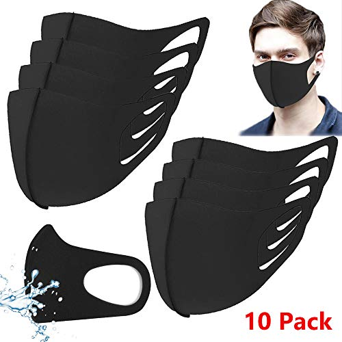 SEAZA 10 Packs Reusable Unisex Face Masks Anti Dust Washable Black Mouth Masks Dust-Proof Odor-Resistant 3D Cotton Cloth Masks for Travel Camping Gardening Cycling Outdoor Sports, Ideal for Men Women