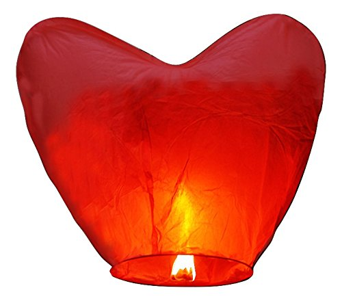 (Event Lanterns Eco Friendly Red Heart Sky Lanterns (Pack Of 10))