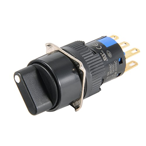 uxcell Latching Rotary Selector Switch 16mm Panel Cutout Dia DPDT ON-Off-ON 3 Position 1/0/2 Round Head