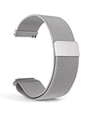 Strab your magnet silver color size 20 mm, suitable for Samsung Active 1, Active 2, Watch 42 mm and Active Sport watches - 2725471299477