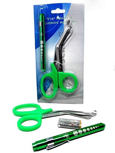 Green Reusable LED Penlight with Batteries + Paramedic Utility Trauma EMT Bandage Shears Scissors 7.5