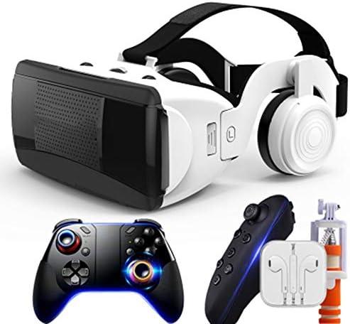 バーチャルリアリティのメガネ3D,スマートメガネ3Dゲームバーチャルヘッドマウント多機能ボタン隠しマイク。。,White,Package3