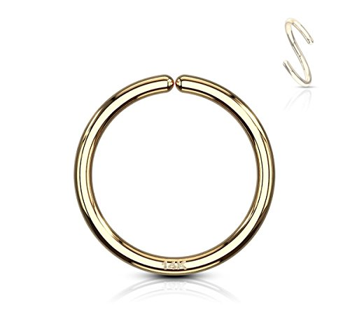 Forbidden Body Jewelry 20g 8mm Solid 14K Yellow Gold Hoop Ring for Nose and Cartilage Piercings ()