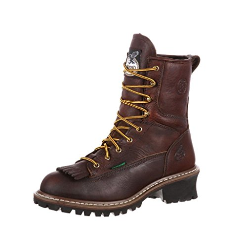 Georgia 8in. Waterproof Logger Boot - Dark Brown, Size 11 1/2 Wide Width, Model# G7113