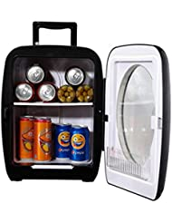 SMETA Thermometric Compact Refrigerator Personal Car Truck Fridge Camper Desktop Bottle Can Cooler Warmer with Glass Door,Black 15L