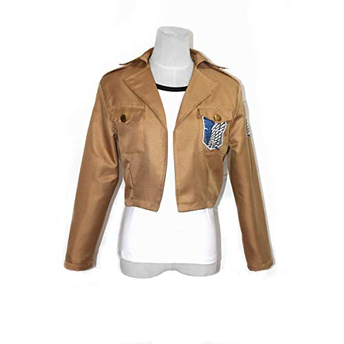 Cosplay Jacket Attack On Titan, Long Sleeves Khaki Scouting Legion Coat Corps Uniform for Eren Mikasa Cosplay