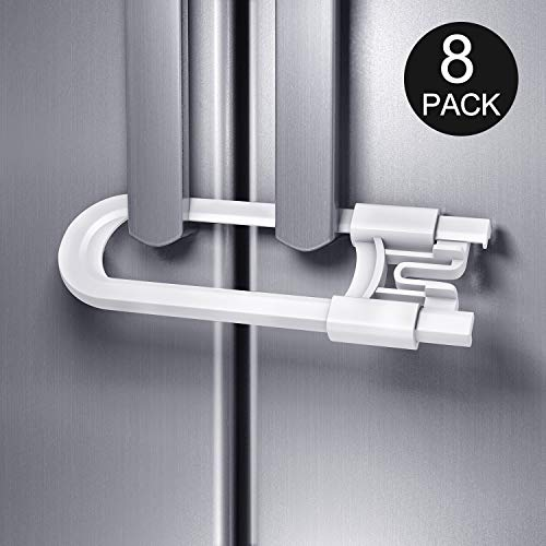 Adoric 8 Pack Baby Safety Locks for Cabinet, U Shaped Sliding Cabinet Locks, Childproof Cabinet Latch for Kitchen, Knobs and Handles (White) by Adoric