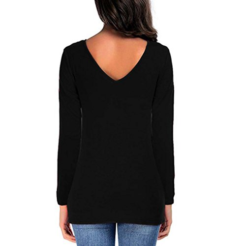 Noir Dames Shirts Femme Col Blouse T Casual Shirt Manches Longues Chemise V Uni Couleur Pullover Fille Solike Tops xwUO0dx