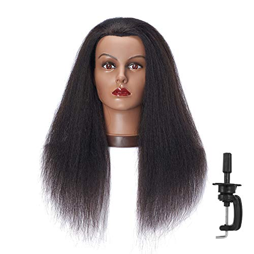 Hairlink 100% Real Hair Afro Mannequin Head Hairdresser Hair Styling Training Head Dolls for Cosmetology Manikin Maniquins Practice Head with Stand (9926B0216)