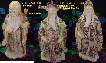 Set of 3 Chinese Wise Men with Exquisite Hand Painted Details, 5 Different Sizes Available (8