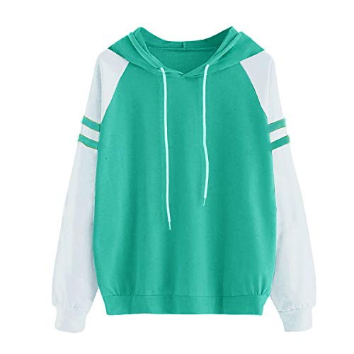 Yidarton Women's Color Block Long Sleeve T Shirt Casual Round Neck Tunic Tops Hoodies(Green,M) by Yidarton (Image #3)