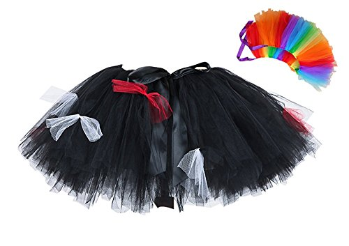 Adult Devil Corpse Bride Tutu Skirt Halloween Women Evil Tutus Skirts with Rainbow Headwear Free Size]()